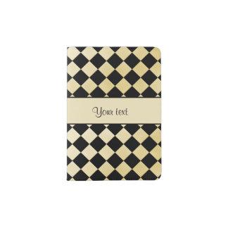 Elegant Black & Faux Gold Checkers Passport Holder