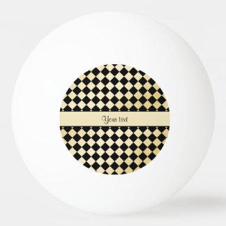 Elegant Black & Faux Gold Checkers Ping Pong Ball