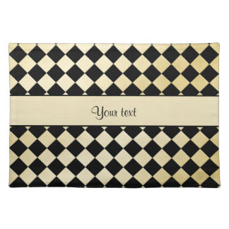 Elegant Black & Faux Gold Checkers Placemat