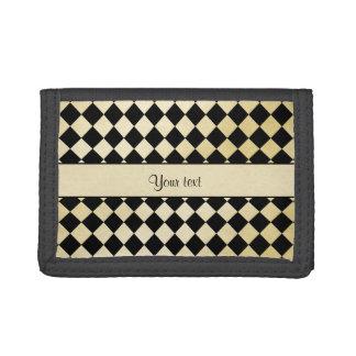 Elegant Black & Faux Gold Checkers Tri-fold Wallet