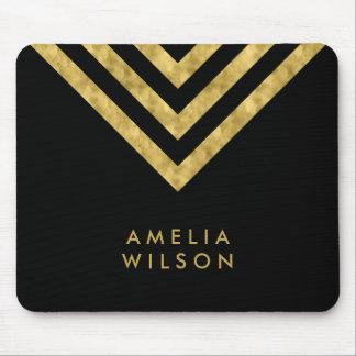 Elegant Black Faux Gold Name Chevron Geometric Mouse Pad