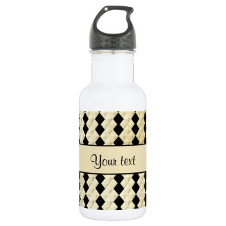 Elegant  Black & Faux Gold Symmetrical Diamonds 532 Ml Water Bottle