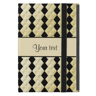 Elegant  Black & Faux Gold Symmetrical Diamonds Case For iPad Mini