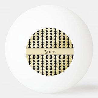 Elegant  Black & Faux Gold Symmetrical Diamonds Ping Pong Ball