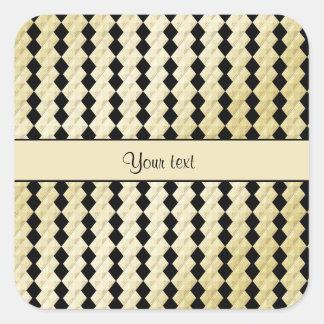 Elegant  Black & Faux Gold Symmetrical Diamonds Square Sticker