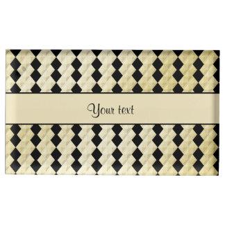 Elegant  Black & Faux Gold Symmetrical Diamonds Table Card Holder