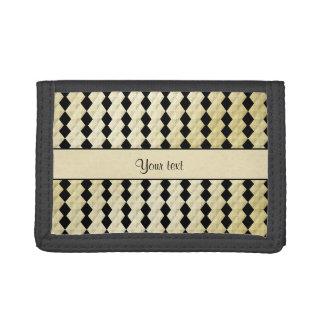 Elegant  Black & Faux Gold Symmetrical Diamonds Tri-fold Wallets