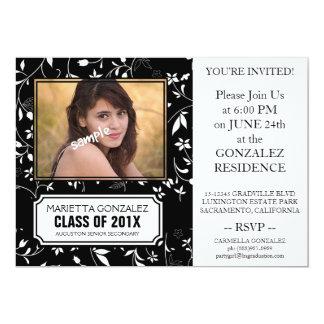Elegant Black Floral Damask Graduation Party Custom Invitations