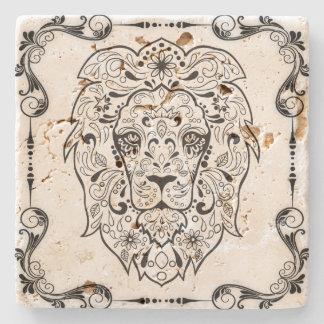 Elegant Black  Floral Frame Lion Sugar Skull 2 Stone Coaster