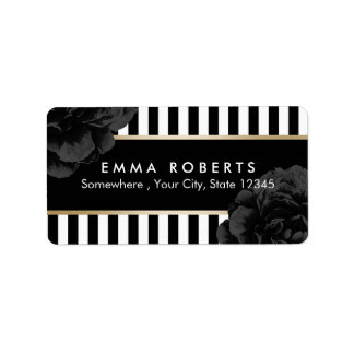 Elegant Black Floral Modern Black & White Stripes Address Label
