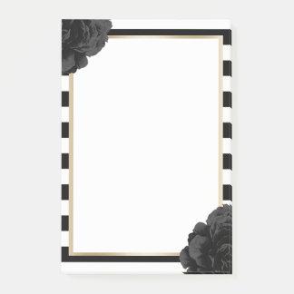 Elegant Black Floral Modern Black & White Stripes Post-it Notes