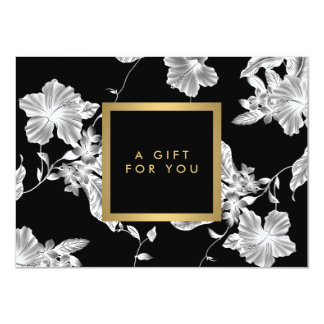 Elegant Black Floral Pattern 3 Gift Certificate 11 Cm X 16 Cm Invitation Card