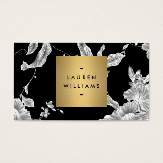 Elegant Black Floral Pattern 3 with Gold Name Logo