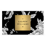 Elegant Black Floral Pattern 3 with Gold Name Logo Pack Of Standard Business Cards