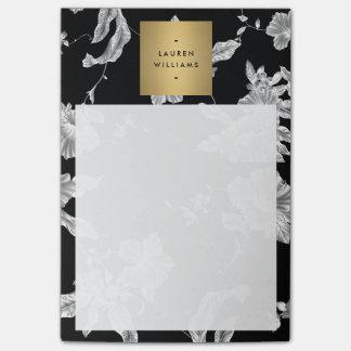 Elegant Black Floral Pattern 3 with Gold Name Logo Post-it® Notes