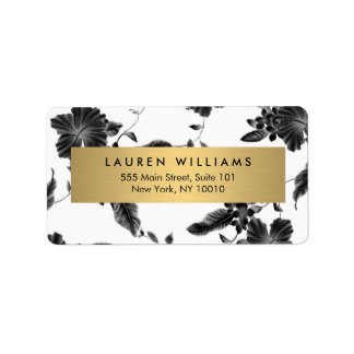 Elegant Black Floral Pattern 4 Address Label