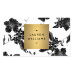 Elegant Black Floral Pattern 4 with Gold Name Logo Pack Of Standard Business Cards