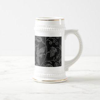 Elegant black floral pattern mugs