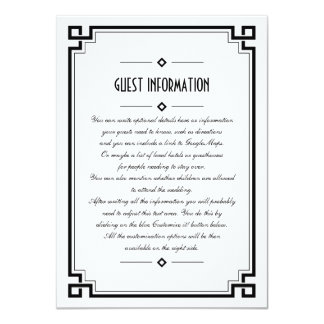 Elegant Black Frame Art Deco Wedding Insert Card
