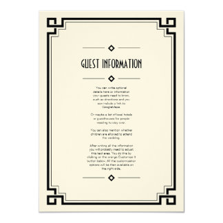 Elegant Black Frame Art Deco Wedding Insert Card 11 Cm X 16 Cm Invitation Card
