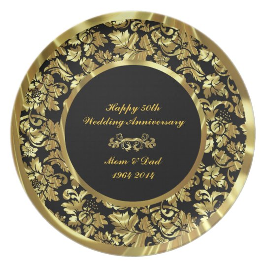 Elegant Black & Gold 50th Wedding Anniversary 2 Plate