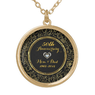 Elegant Black & Gold 50th Wedding Anniversary Gold Plated Necklace