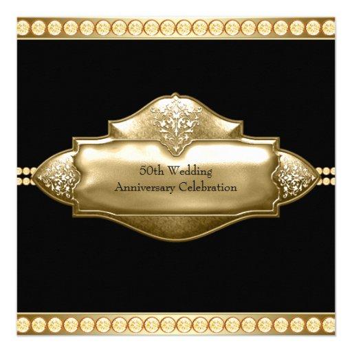 Elegant Black Gold 50th Wedding Anniversary Announcements