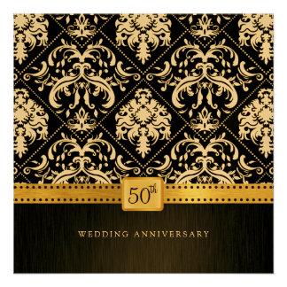 Elegant Black Gold 50th Wedding Anniversary Personalized Announcement