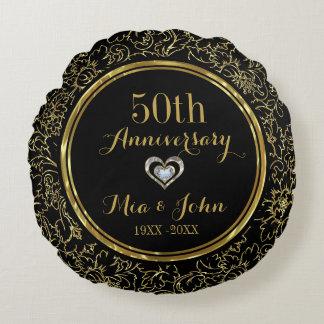 Elegant Black & Gold 50th Wedding Anniversary Round Cushion