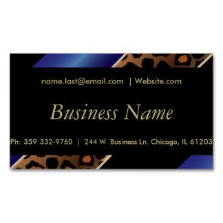 Elegant Black, Gold and Blue Leopard Stripes Magnetic Business Cards