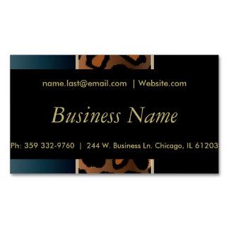 Elegant Black, Gold and Denim Blue Leopard Stripes Magnetic Business Cards