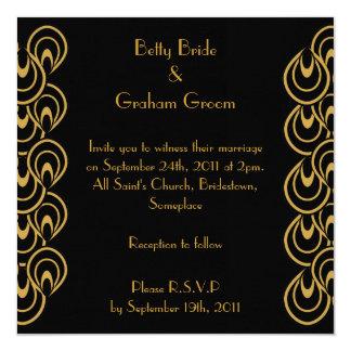 Elegant Black & Gold Art Deco Linen Invites
