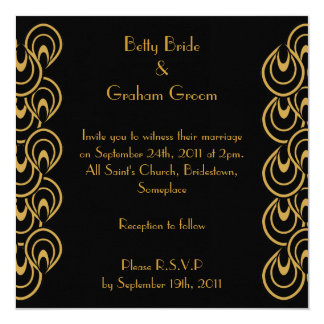 Elegant Black & Gold Art Deco Linen Invites