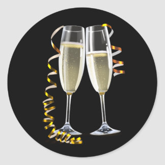Elegant Black Gold Champagne Glass Stickers