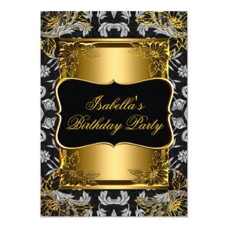 Elegant Black Gold Damask Brocade Birthday Party 2 Announcement Card