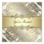 Elegant Black Gold Damask Party Personalized Announcement