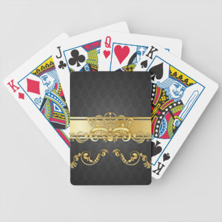 Elegant Black & Gold Damask Pattern Print Design Bicycle Playing Cards