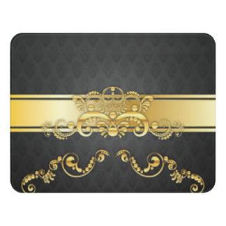 Elegant Black & Gold Damask Pattern Print Design Door Sign