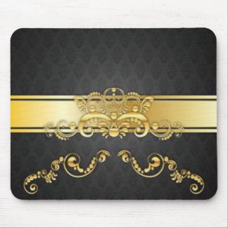 Elegant Black & Gold Damask Pattern Print Design Mouse Pad