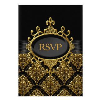 Elegant Black Gold Damask RSVP Personalized Invitation
