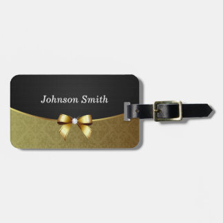 Elegant Black Gold Damask Shiny Diamond Ribbon Bow Tags For Bags
