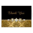 Elegant Black & Gold Damask Thank You Card