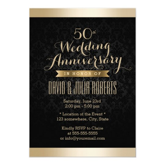 Elegant Black & Gold Damask Wedding Anniversary Card