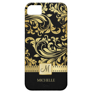 Elegant Black & Gold Damask with Monogram Case For The iPhone 5