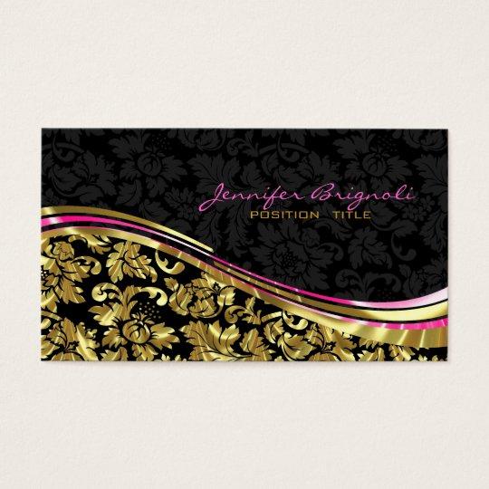 Elegant Black & Gold Damasks Silver Accents Business Card