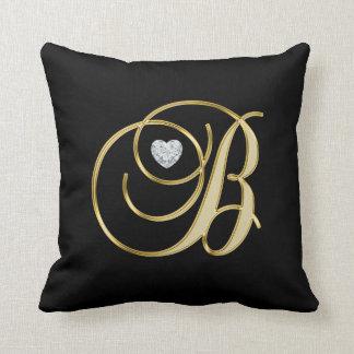 Elegant Black Gold Design Monogram Letter 'B ' Cushion