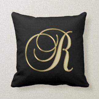 Elegant Black Gold Design Monogram Letter 'R ' Cushion