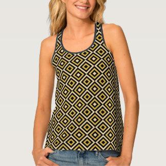 Elegant Black Gold Diamond Pattern Womens Tank Top