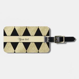 Elegant Black & Gold Diamonds Luggage Tag