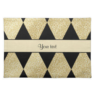 Elegant Black & Gold Diamonds Placemat